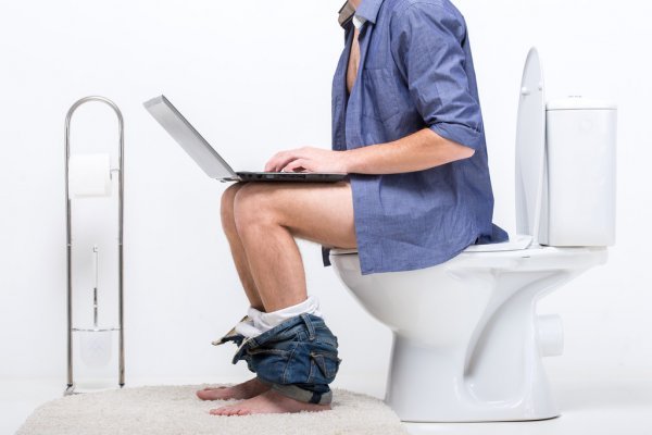 Man on toilet with laptop computer